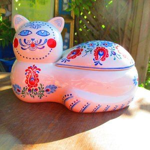 Country Cat Ceramic Container Orient Express 1984